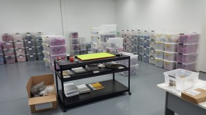 Large comfortable storage area with a new packing table.  Very fancy